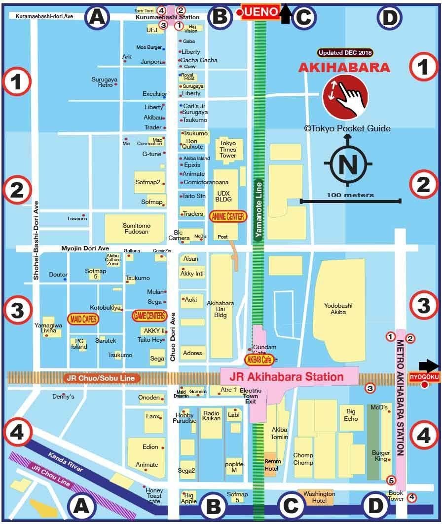 Akihabara Tokyo map   Map of Akihabara Tokyo (Kantō   Japan)