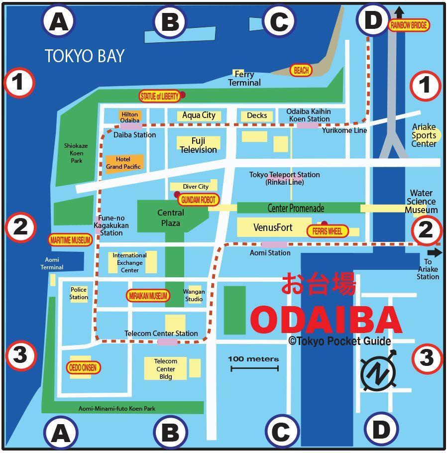 Odaiba map Odaiba Tokyo map Kant Japan