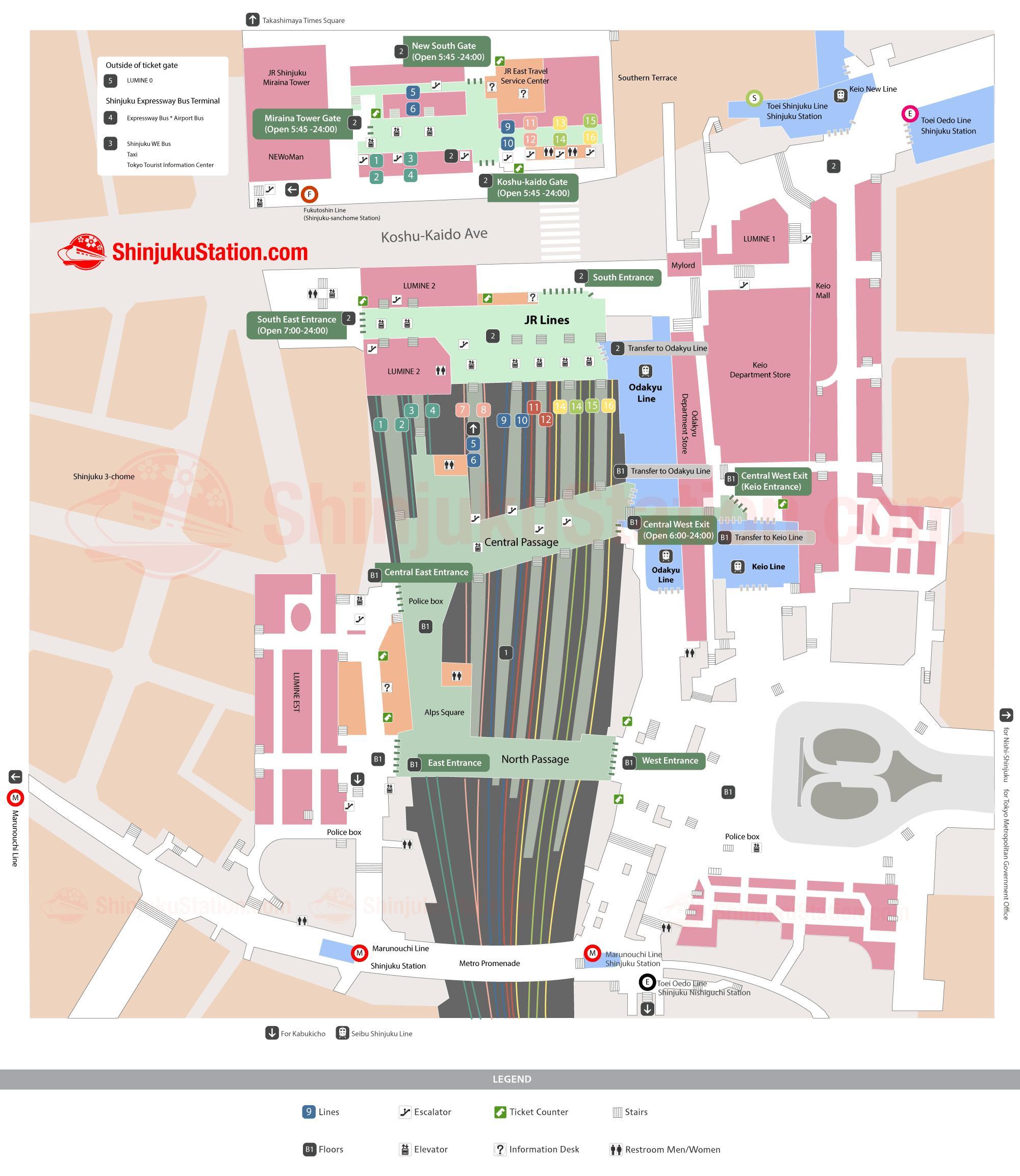 Shinjuku Subway Station Map