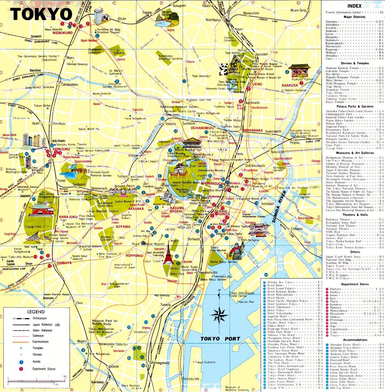 Tokyo sightseeing map Tokyo sights map Kant Japan