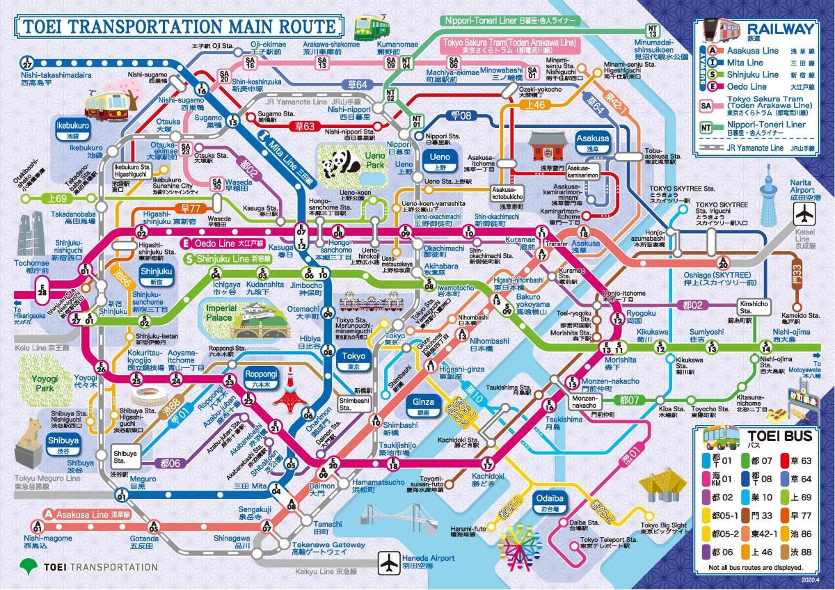 Toei Subway Map Toei Line Map Kantō Japan - Japan metro map