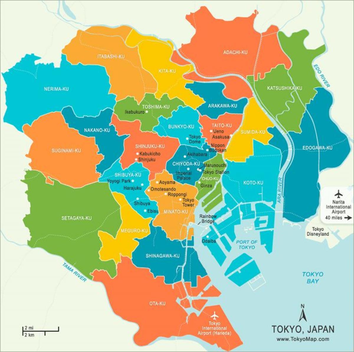 Tokyo Neighborhood Map Map Of Tokyo Neighborhoods Kantō Japan - Japan map tokyo