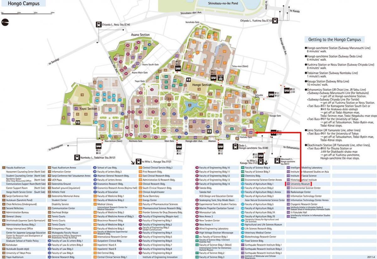 Tokyo University Campus Map University Of Tokyo Campus Map Kantō