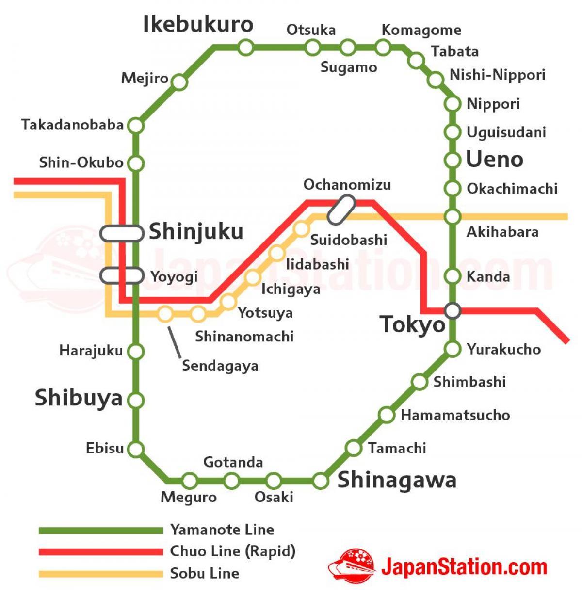 Yamanote line map   Tokyo Yamanote line map (Kantō   Japan)